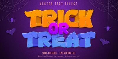 truque ou travessura de texto editável de halloween vetor