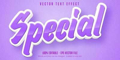 efeito de texto editável especial de desenho animado roxo e branco vetor