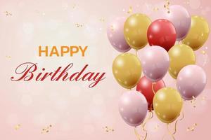 saudação de feliz aniversário com balões vetor