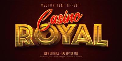 efeito de texto editável em dourado e vermelho brilhante do casino real vetor