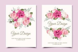 cartão de convite de casamento floral vetor