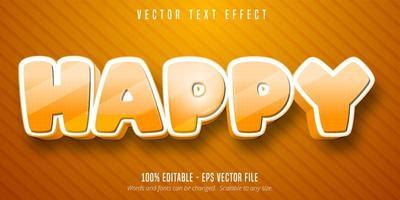 efeito de texto editável de estilo cartoon feliz laranja pontilhada vetor