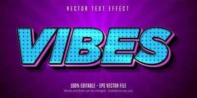 efeito de texto editável de vibrações de meio-tom azul estilo cartoon