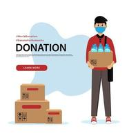 banner de doação e modelo de postagem em mídia social vetor