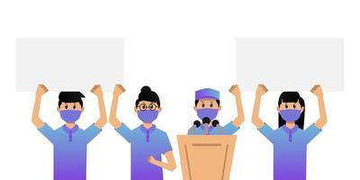 desenho de campanha eleitoral com pessoas mascaradas vetor