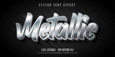 efeito de texto editável estilo prata metálico vetor