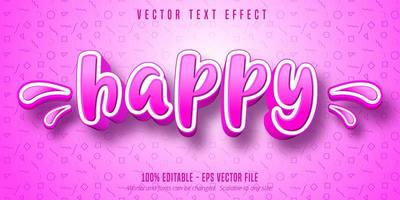 efeito de texto editável estilo cartoon feliz rosa e branco