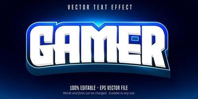efeito de texto editável de estilo e-sport jogador branco e azul vetor