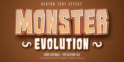 efeito de texto editável estilo monstro evolução cartoon vetor