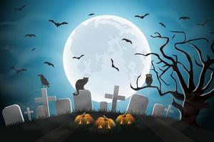desenho de noite de halloween com cemitério vetor