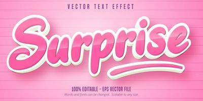 efeito de texto editável de estilo de desenho animado rosa brilhante