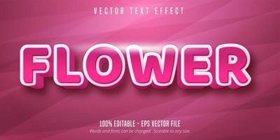efeito de texto editável flor rosa vetor