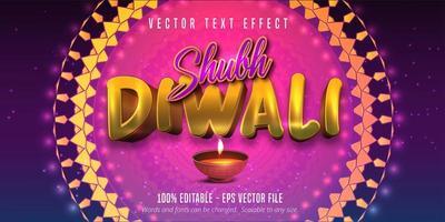 texto shubh diwali, efeito de texto editável de estilo tradicional vetor
