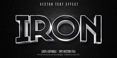 efeito de texto editável de contorno preto ferro e prata metálico vetor