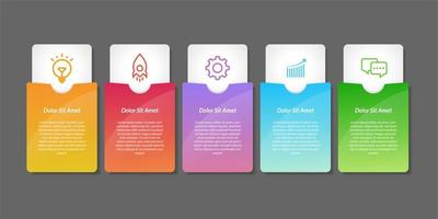 elementos de design de infográfico de etiqueta colorida vetor