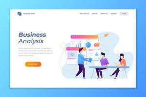 página de destino de análise de dados de negócios