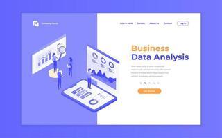 site de análise de dados roxo e conceito de site para celular