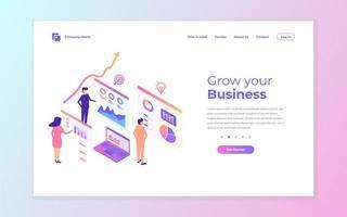 design rosa e azul da página de destino comercial