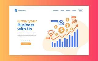 página de destino em crescimento de negócios criativos