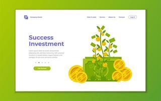 página de destino de crescimento de investimento, financeiro e negócios