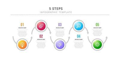 modelo de design de infográfico de círculo com 5 etapas