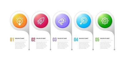 cinco opções de design de infográfico de fluxo de trabalho