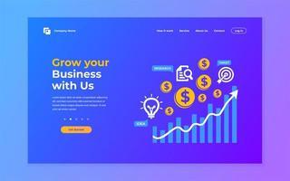 página de destino em crescimento de negócios em azul e roxo