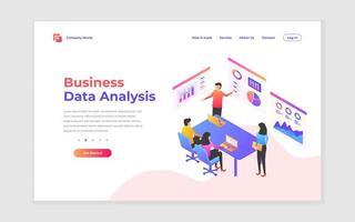 página de destino de análise de negócios e estratégia