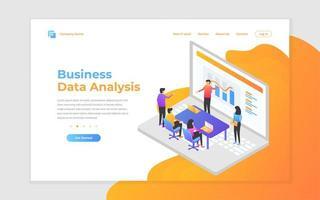trabalho em equipe, análise de negócios e página de destino da estratégia
