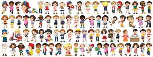 crianças de várias nacionalidades em fundo branco