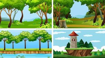 conjunto de cenas em ambiente natural