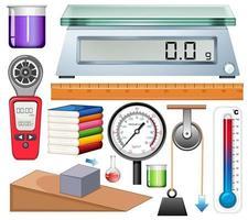 conjunto de equipamentos de ciência em fundo branco vetor