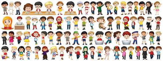 crianças de várias nacionalidades em fundo branco vetor