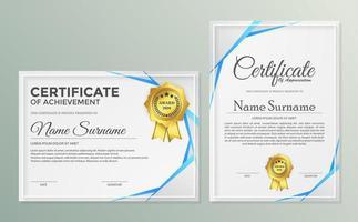 conjunto de diploma de prêmio de certificado de associação vetor