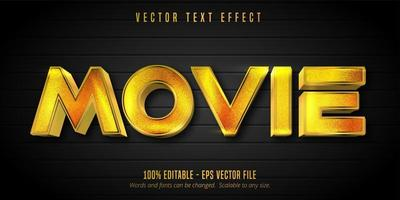 efeito de texto editável de estilo dourado brilhante de filme