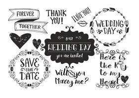 Doodles de casamento desenhados à mão vetor