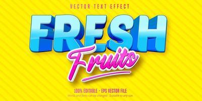 efeito de texto editável de desenho animado de frutas frescas em azul e rosa vetor