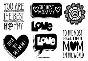 Etiquetas bonitas do dia da mãe desenhadas mão vetor