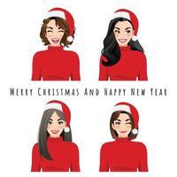 Diferentes expressões faciais femininas em chapéus de Papai Noel vetor