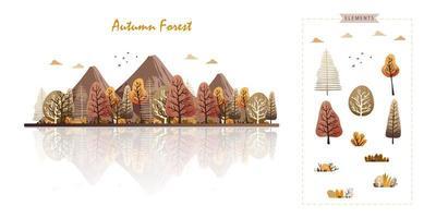 floresta de outono ou parque em estilo aquarela moderno vetor