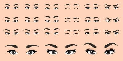 coleção de olhos femininos de desenho animado