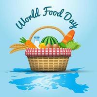 conceito do dia mundial da comida com cesta de alimentos vetor