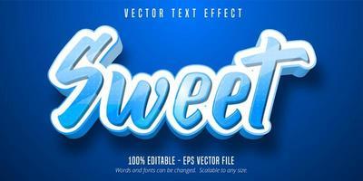 efeito de texto editável de estilo cartoon doce com pontos azuis vetor