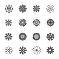 ícones planos de flores vetor