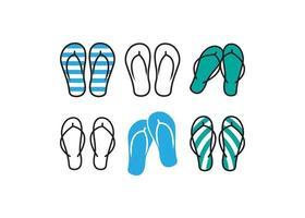 ícones de sandália flip-flop vetor