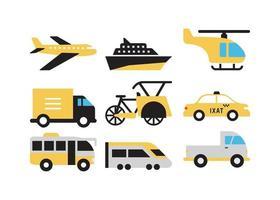 conjunto de veículo de transporte vetor