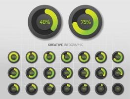 gradiente verde e diagramas de porcentagem do círculo cinza vetor