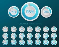 diagramas de porcentagem do círculo azul e branco vetor