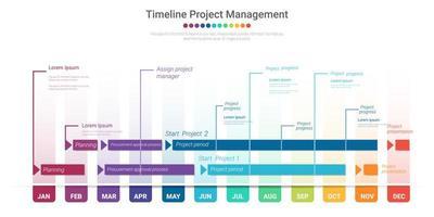 gráfico colorido da linha do tempo do projeto por 12 meses vetor