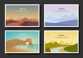 conjunto de paisagem de estilo minimalista vetor